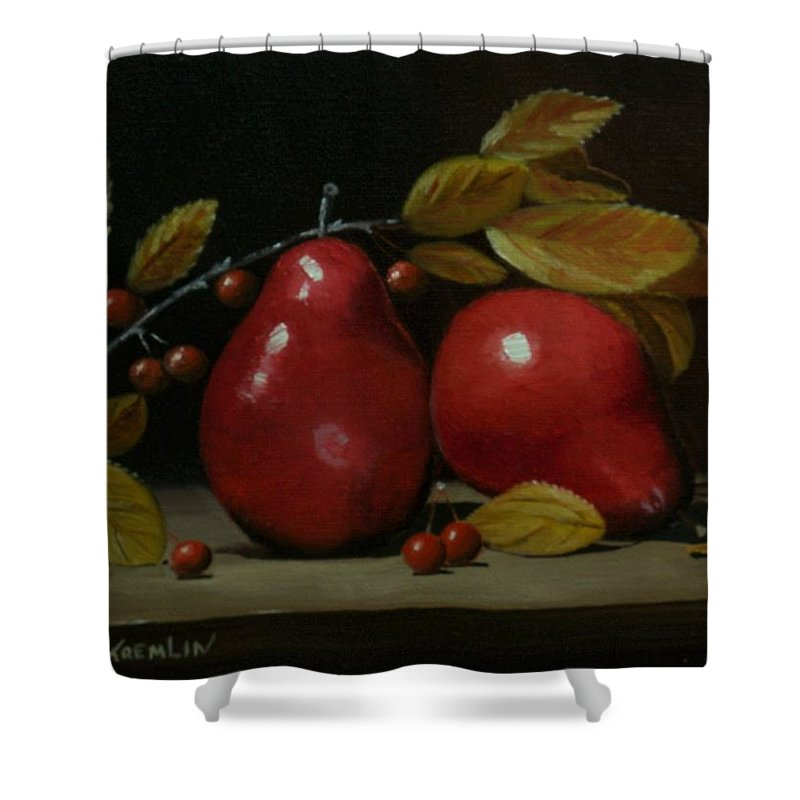 Fall Shower Curtain featuring the painting Fall Pear #2 by Paul Tremlin