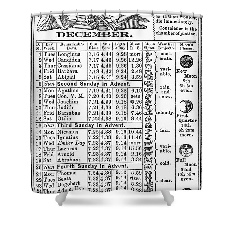 1874 Shower Curtain featuring the photograph Family Almanac, 1874 by Granger