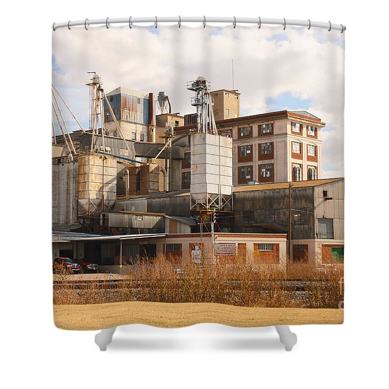 Feed+mill Shower Curtain featuring the photograph Feed Mill by Charles Beeler