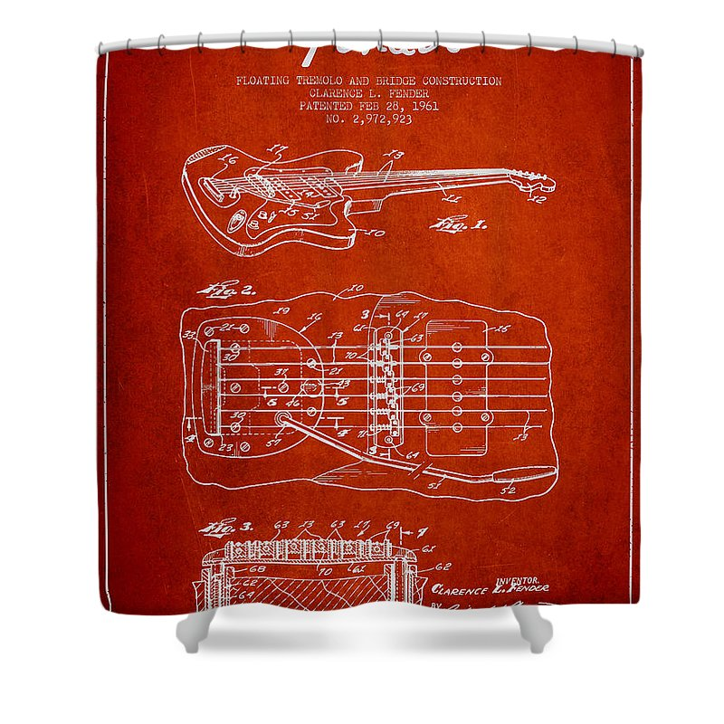 Fender Shower Curtain featuring the digital art Fender Floating Tremolo Patent Drawing From 1961 - Red by Aged Pixel