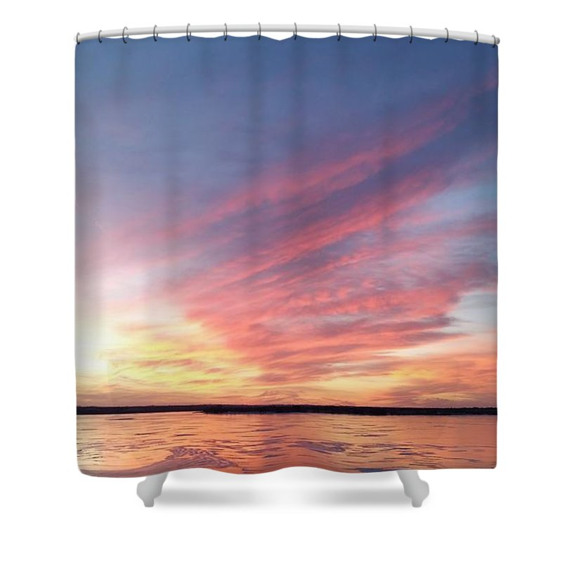 Branched Oak Lake Shower Curtain featuring the photograph Fire And Ice by Caryl J Bohn