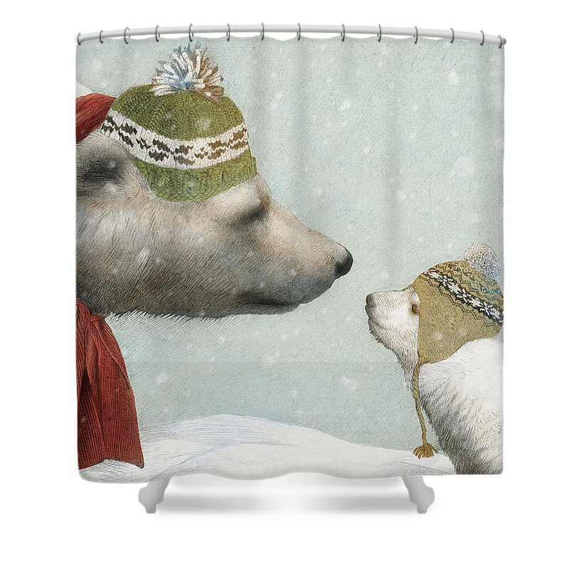 Polar Bear Shower Curtain featuring the drawing First Winter by Eric Fan