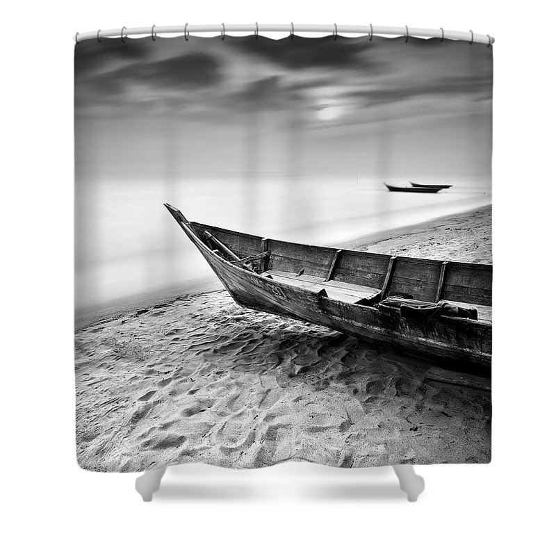 Tranquility Shower Curtain featuring the photograph Fisherman Boat At Beach In Black And by Photography By Azrudin