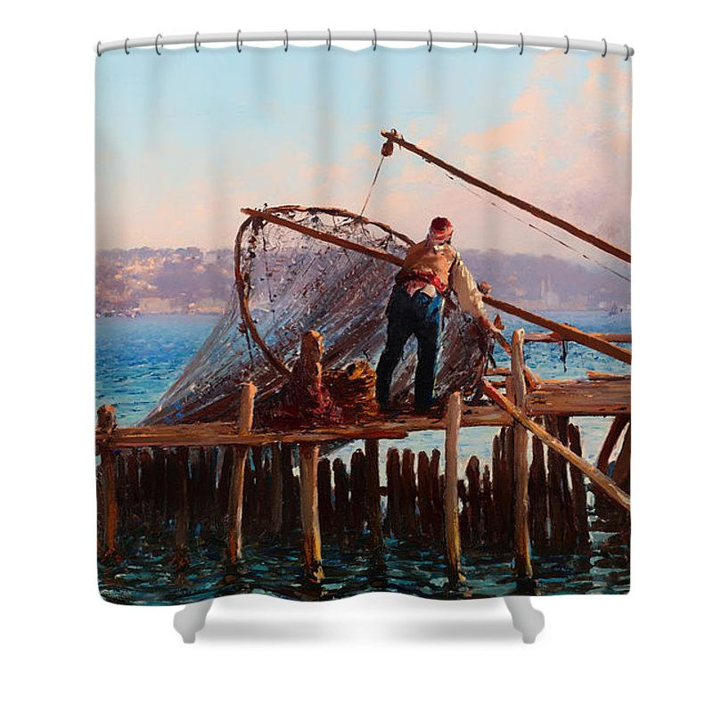 Painting Shower Curtain featuring the painting Fishermen Bringing In The Catch by Mountain Dreams