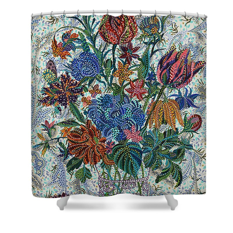 Floral Shower Curtain featuring the painting Floral Arrangement by Erika Pochybova