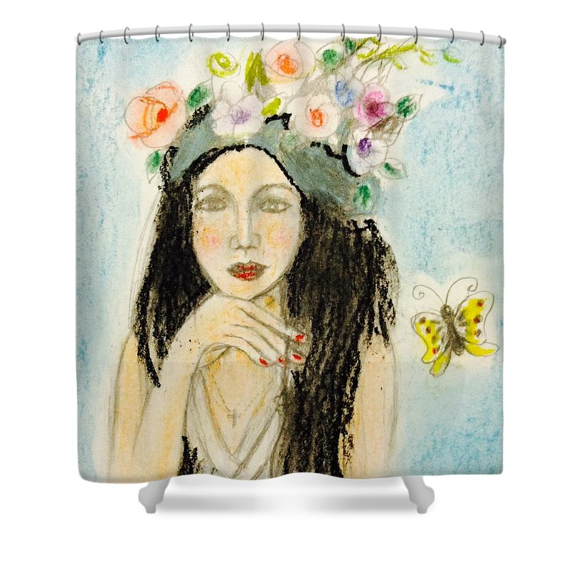 Shower Curtain featuring the painting Flower And Butterfly by Hae Kim