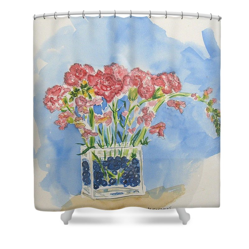 Flowers Shower Curtain featuring the painting Flowers In A Vase by Mary Ellen Mueller Legault