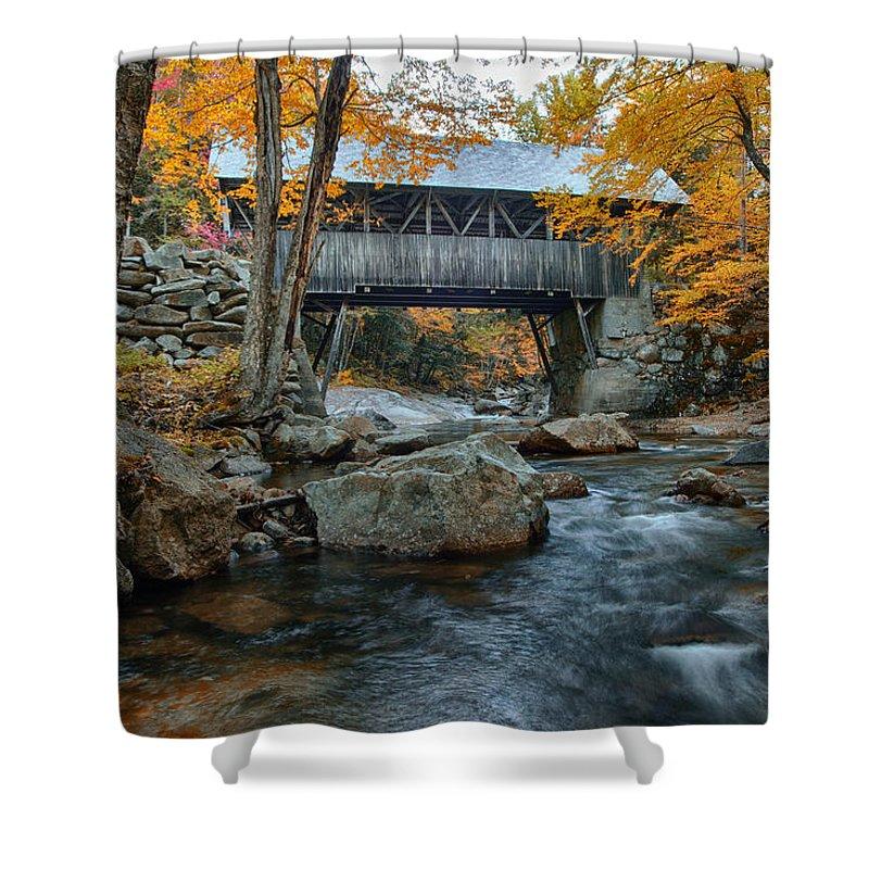 Autumn Foliage New England Shower Curtain featuring the photograph Flume Gorge Covered Bridge by Jeff Folger