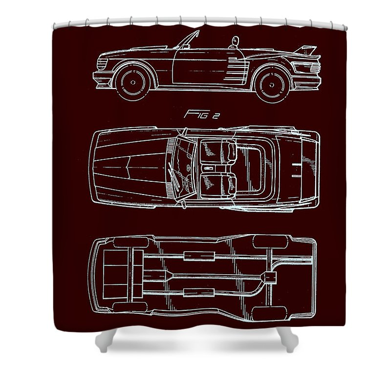 Patent Shower Curtain featuring the drawing Ford Mustang Automobile Body Patent 1986 by Mountain Dreams