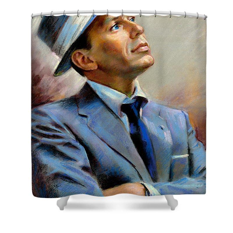 Francis Frank Sinatra Shower Curtain Featuring The Pastel Frank Sinatra By  Ylli Haruni