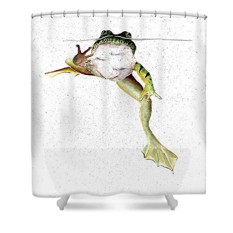 Frog On Waterline Shower Curtain featuring the painting Frog On Waterline by Steven Schultz
