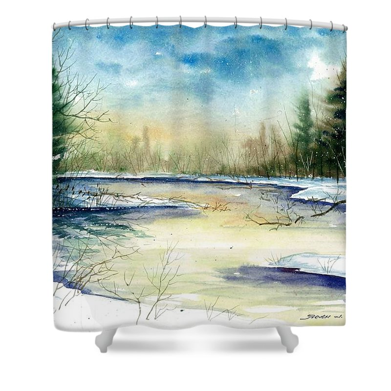 Landscape Shower Curtain featuring the painting Frozen Creek by Steven Schultz