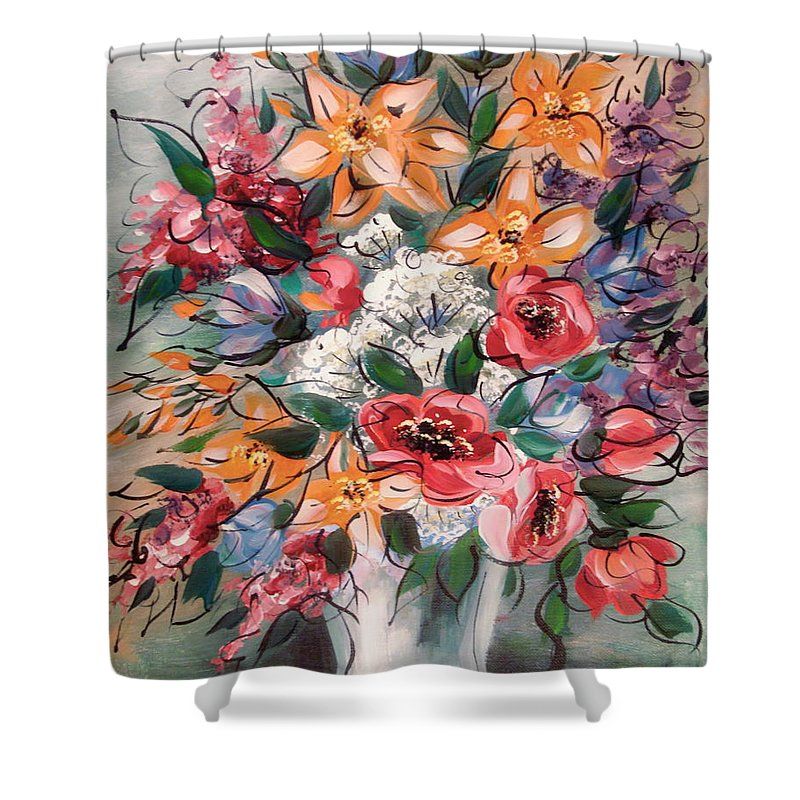 Flowers Shower Curtain featuring the painting Garden Flowers by Natalie Holland