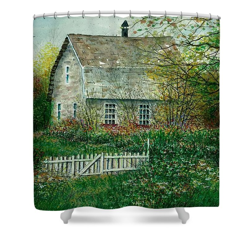 Landscape Shower Curtain featuring the painting Gardening Shed by Steven Schultz