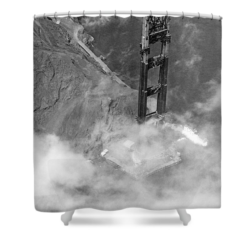 1930s Shower Curtain Featuring The Photograph Ggb Tower Under Construction By Underwood Archives