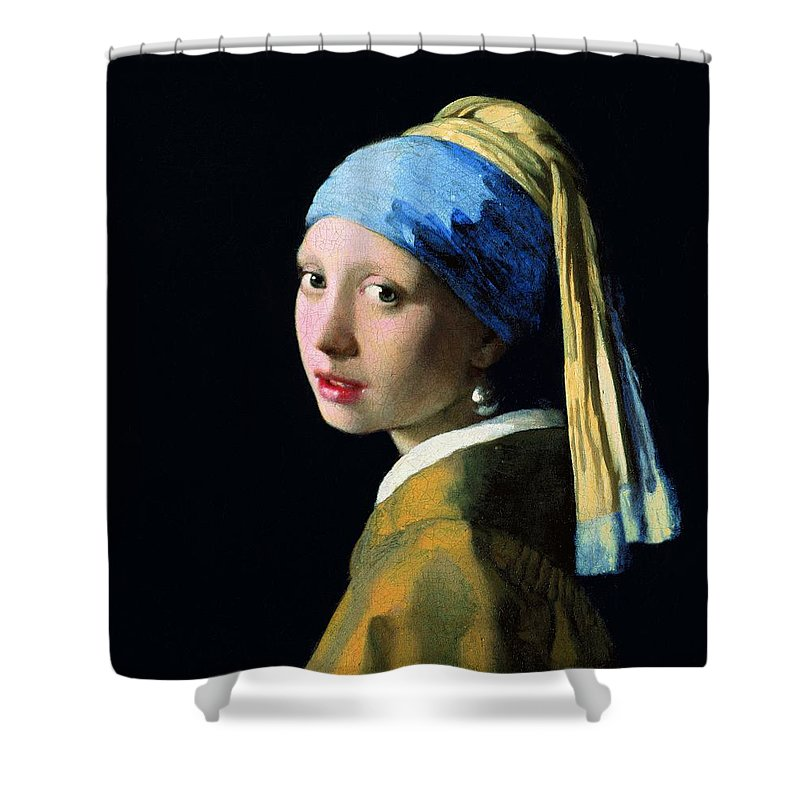 Johannes Vermeer Shower Curtain featuring the painting Girl With A Pearl Earring by Jan Vermeer