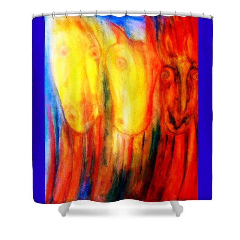 Horse Shower Curtain featuring the painting Give Us Hay Or Go Away by Hilde Widerberg