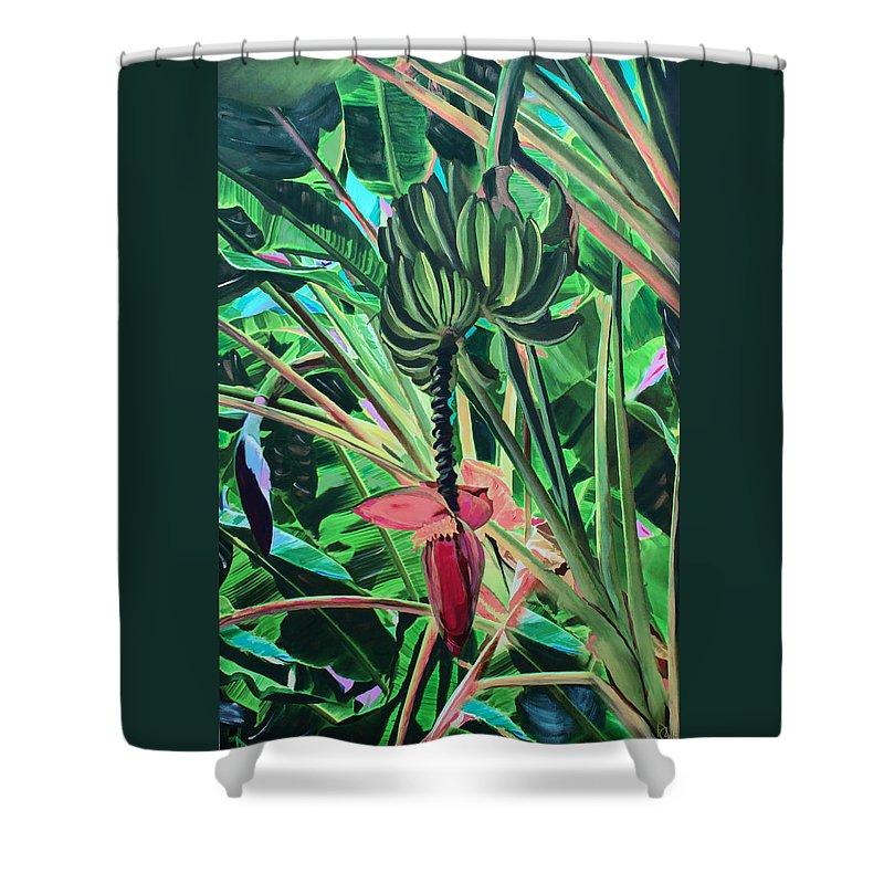 Bananas Shower Curtain featuring the mixed media Going Bananas by Deborah Boyd