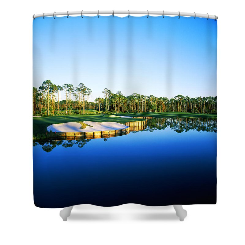 Photography Shower Curtain featuring the photograph Golf Course At The Lakeside, Regatta by Panoramic Images