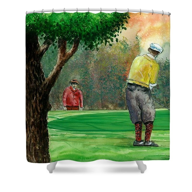 Golf Outing Shower Curtain featuring the painting Golf Outing by Steven Schultz