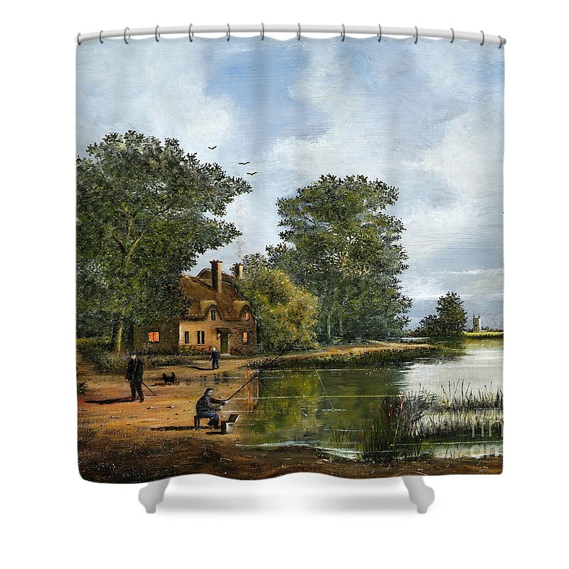 Countryside Shower Curtain featuring the painting Gone Fishing by Ken Wood