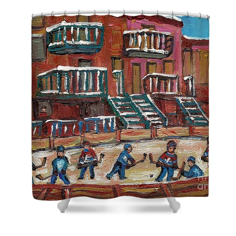 Hockey Shower Curtain featuring the painting Gorgeous Day For A Game by Carole Spandau