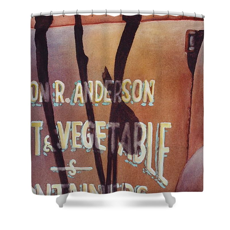 Bluebird Shower Curtain featuring the painting Great American Food Truck by Greg and Linda Halom