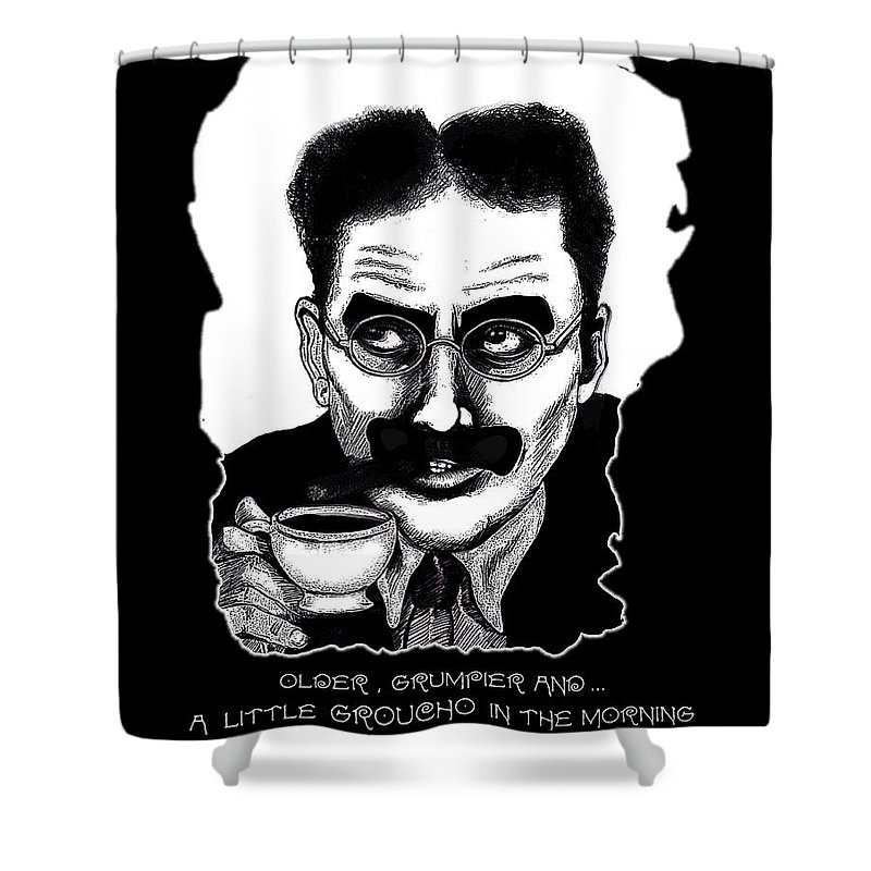 Marx Brothers Shower Curtain featuring the digital art Groucho In The Morning by Christopher Korte