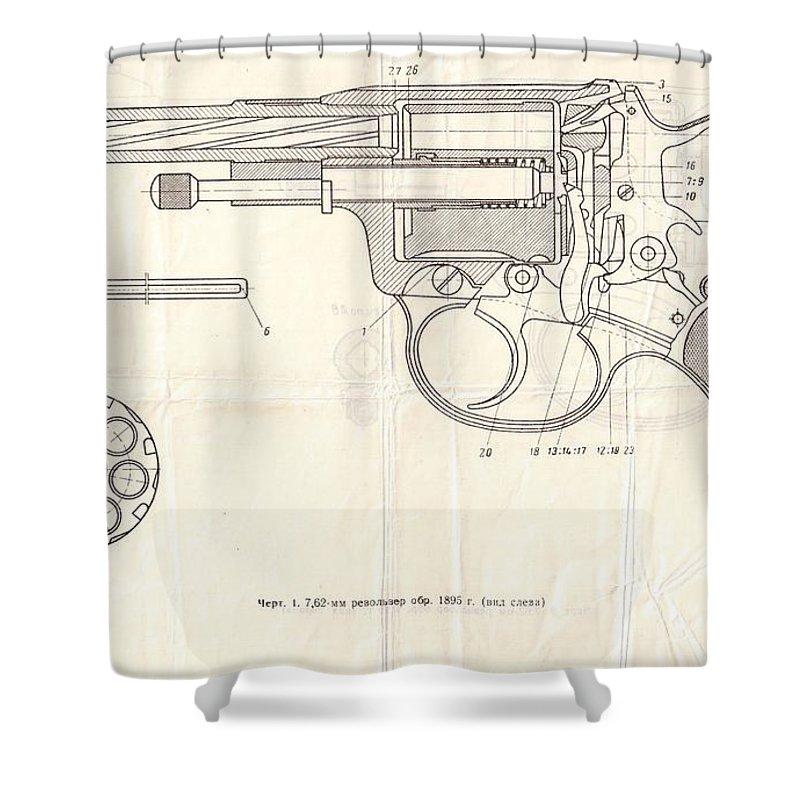 Gun Shower Curtain featuring the drawing Gun by Oleg Konin