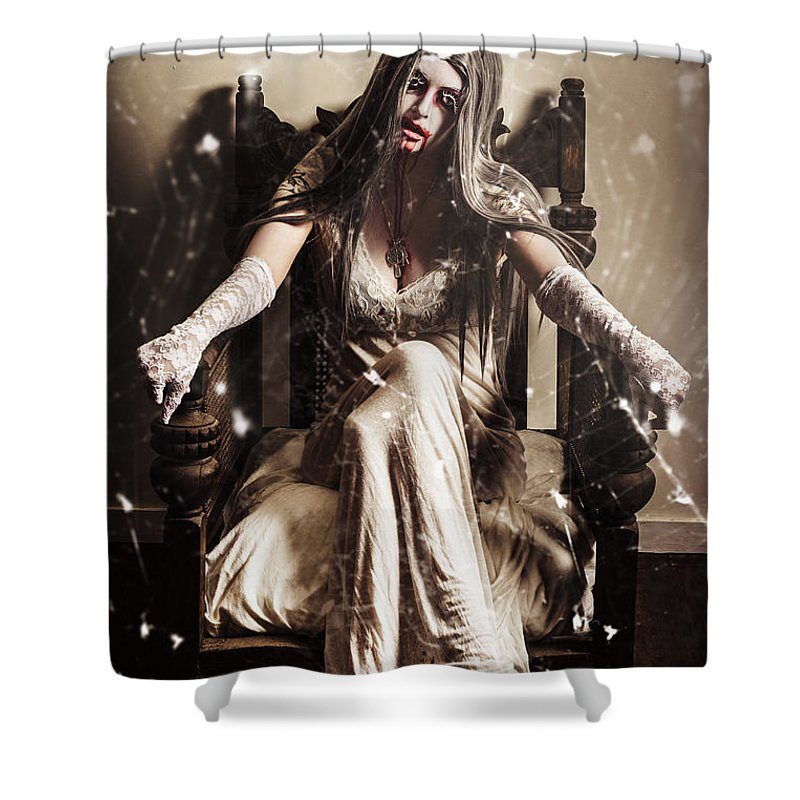Evil Shower Curtain featuring the photograph Haunting Horror Scene With A Strange Vampire Girl by Jorgo Photography - Wall Art Gallery