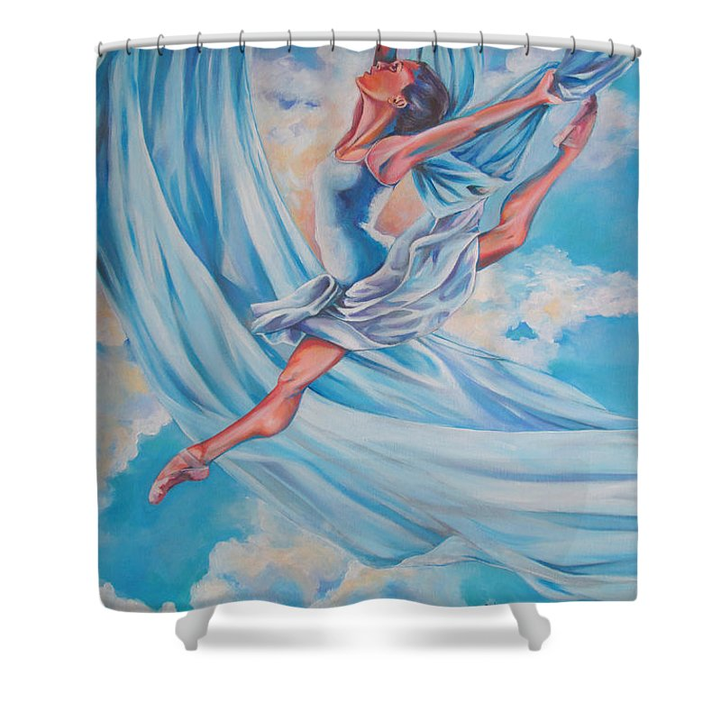 Dance Shower Curtain Featuring The Painting Heavenly By Tamer And Cindy Elsharouni