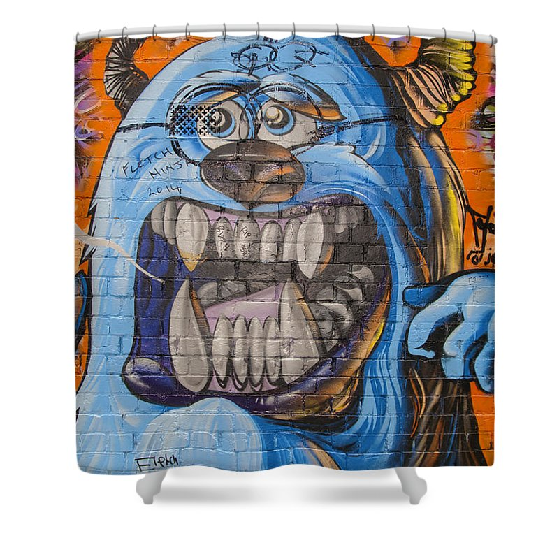 Melbourne Australia Street Art Colorful Alley Artwork Painting Streets Alleys Graffiti City Cities Cityscape Cityscapes Shower Curtain featuring the photograph Here Today - Gone Tomorrow by Bob Phillips