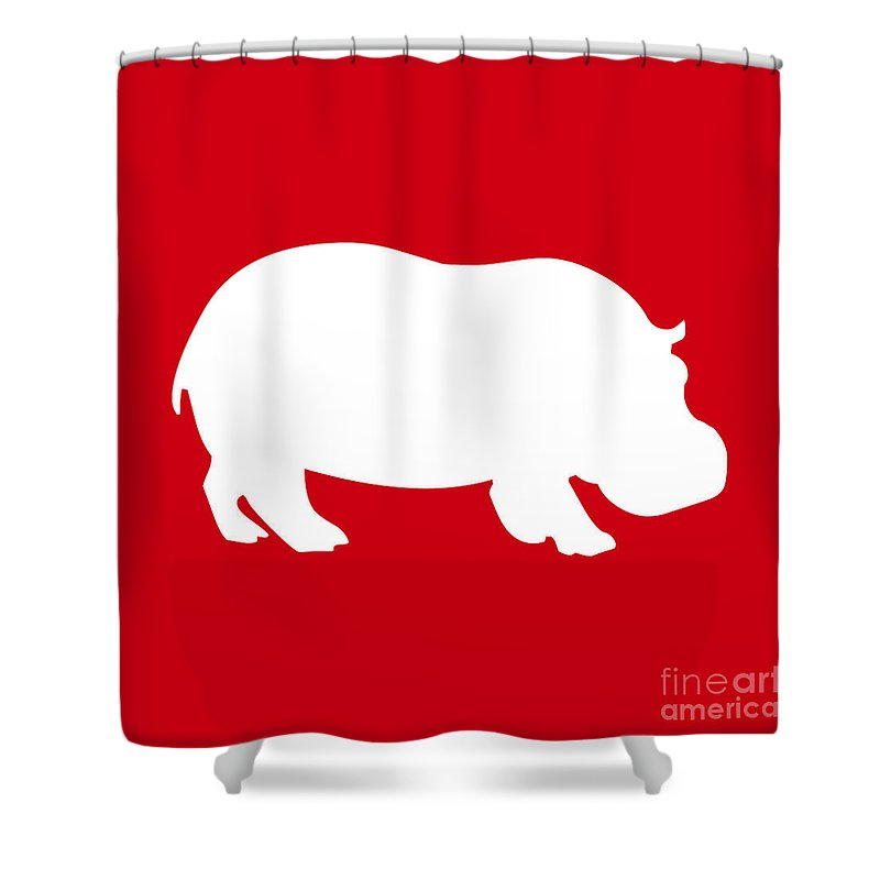 Graphic Art Shower Curtain featuring the digital art Hippo In Red And White by Jackie Farnsworth