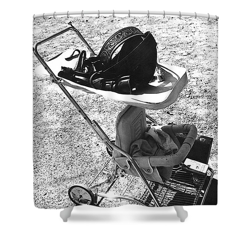 Holster Brief Case Baby Carriage Tombstone Arizona 1970 Shower Curtain featuring the photograph Holster Brief Case Baby Carriage Tombstone Arizona 1970 by David Lee Guss