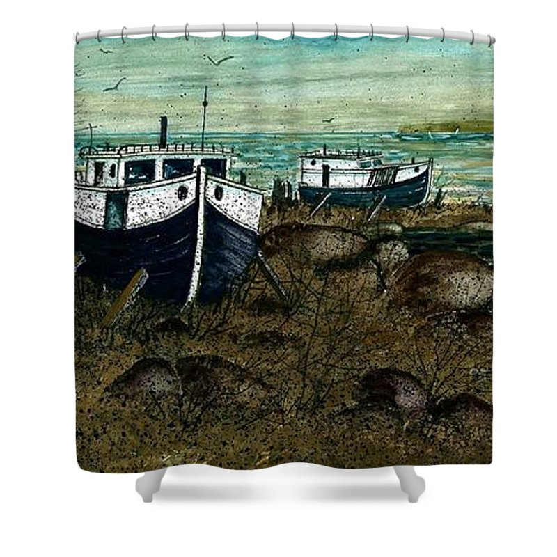 House Boats Shower Curtain featuring the painting House Boats by Steven Schultz