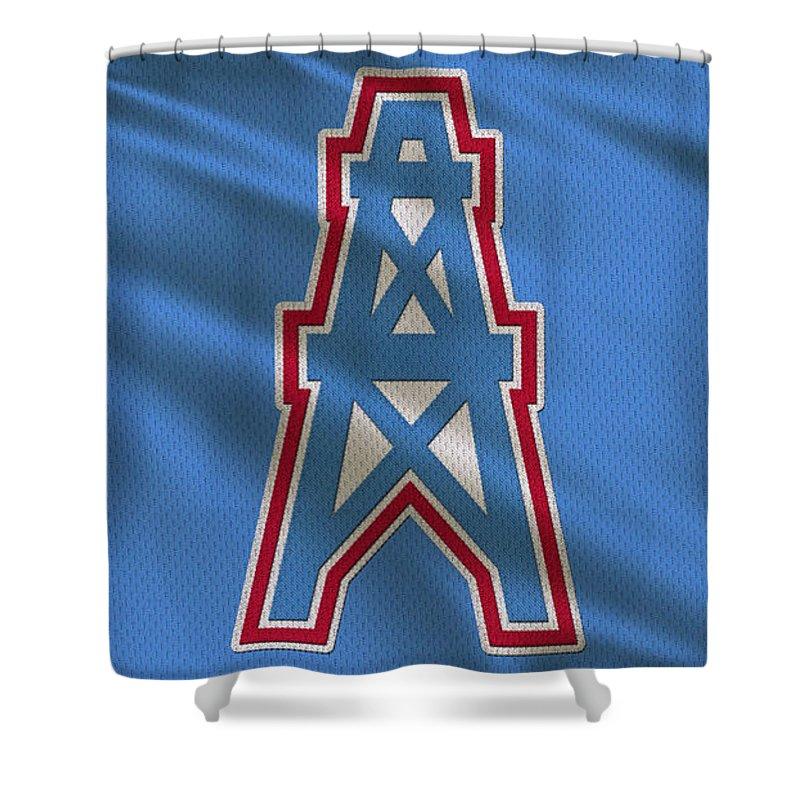 Oilers Shower Curtain featuring the photograph Houston Oilers Uniform by Joe Hamilton