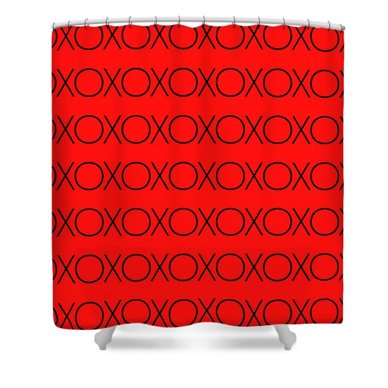 Hugs And Kisses Shower Curtain featuring the digital art Hugs And Kisses by Chastity Hoff