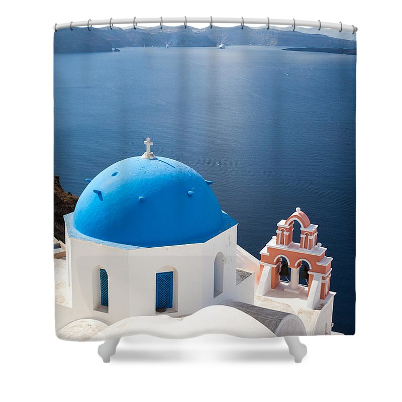 Architecture Shower Curtain featuring the photograph Iconic Blue Domed Churches In Oia Santorini Greece by Matteo Colombo