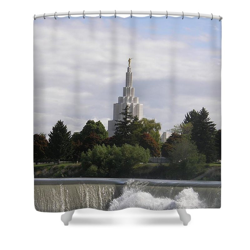 Temple Shower Curtain featuring the photograph Idaho Falls Temple by Image Takers Photography LLC