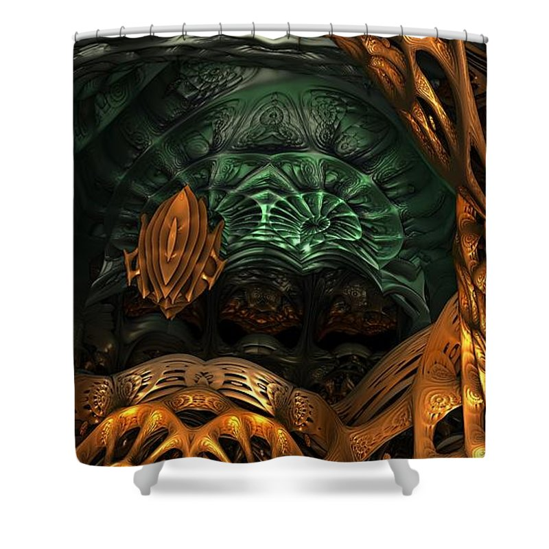 Fractal Shower Curtain featuring the digital art In The Belly Of The Beast by Lyle Hatch