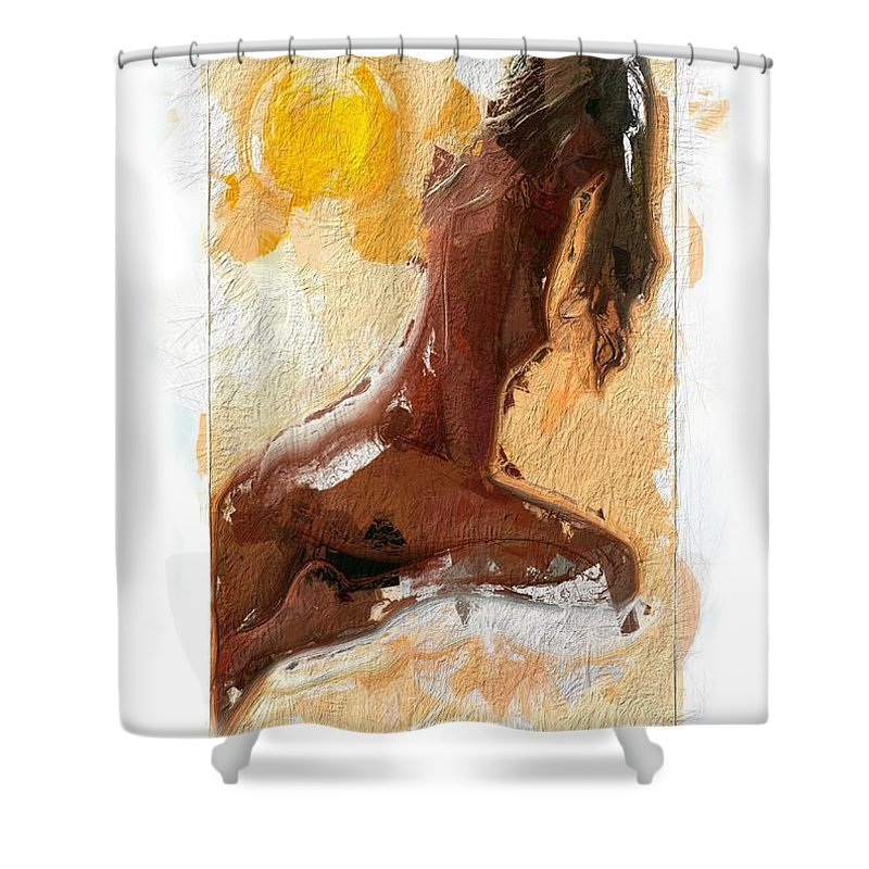 Girl Woman Nude Female Sexy Boobs Tits Curves Figure Sun Sunlight Abstract Portrait Expressionism Impressionism Beauty Erotic Colorful Heat Hot Butt Sensual Shower Curtain featuring the painting In The Heat Of The Sun by Steve K