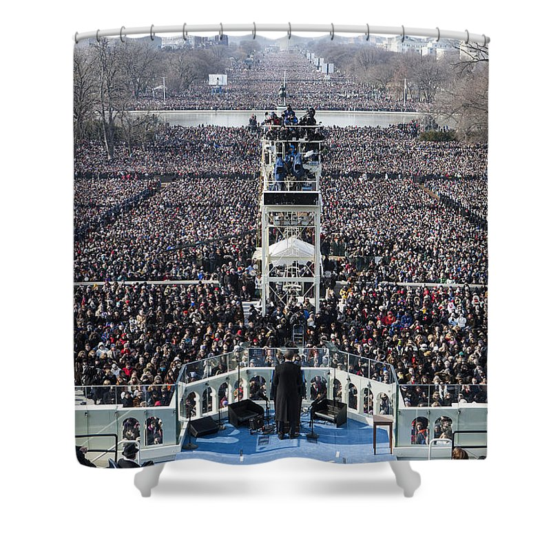 Barack Obama Shower Curtain featuring the photograph Inauguration by JP Tripp