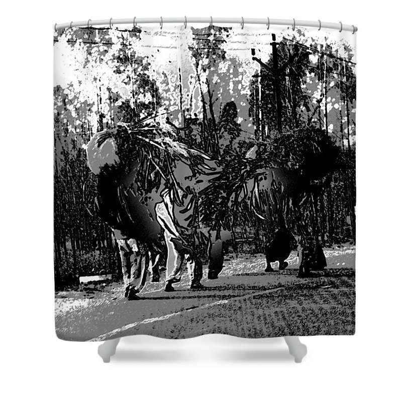 Canon 650d Shower Curtain featuring the digital art Indian Women Carrying Heavy Loads Along The Highway by Ashish Agarwal