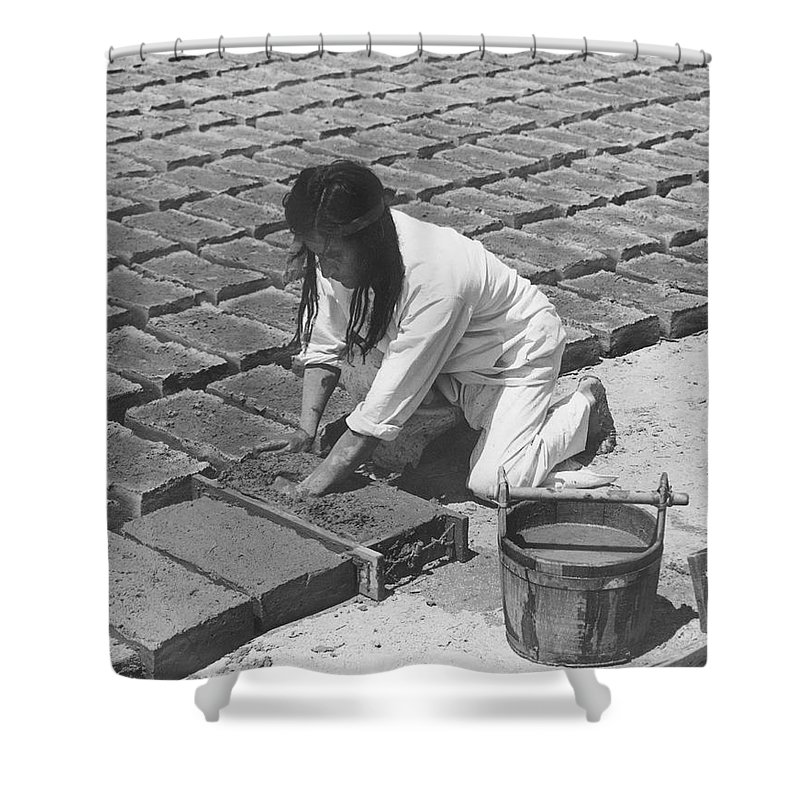 1 Person Only Shower Curtain featuring the photograph Indians Making Adobe Bricks by Underwood Archives Onia