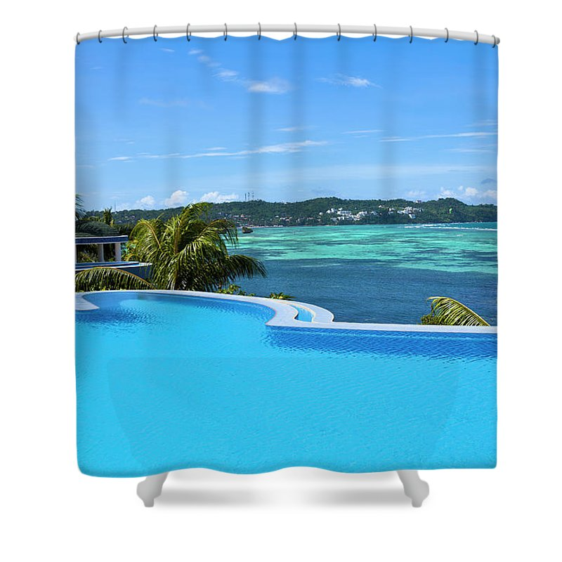 Scenics Shower Curtain featuring the photograph Infinity Swimming Pool by 35007