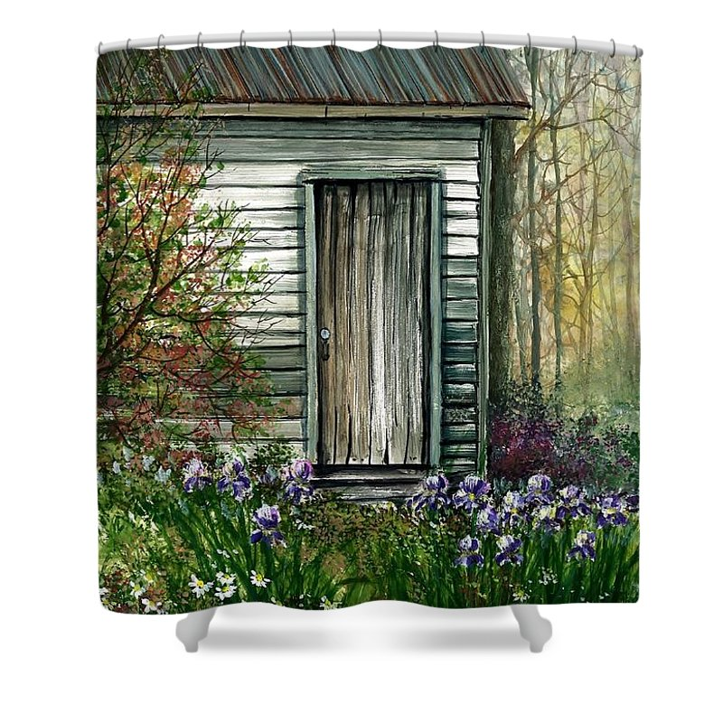 Iris By Barn Shower Curtain featuring the painting Iris By Barn by Steven Schultz