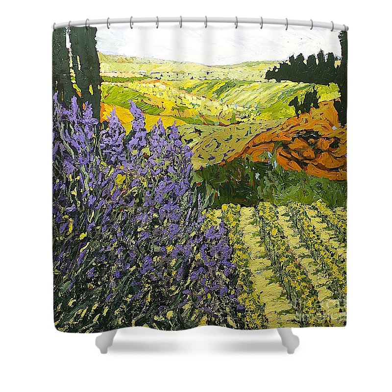 Landscape Shower Curtain featuring the painting It Is Magic by Allan P Friedlander