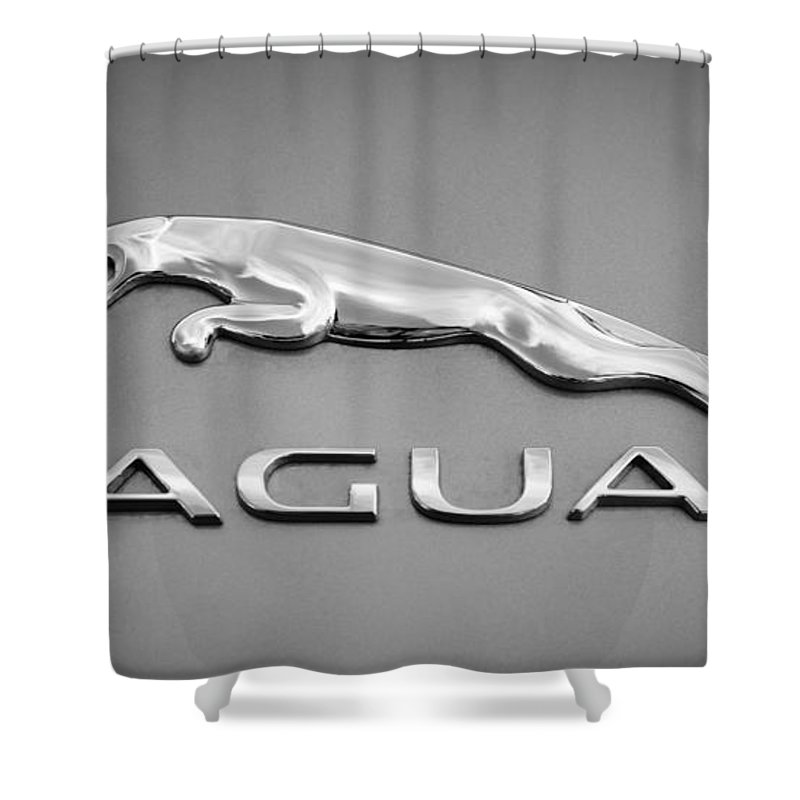 Jaguar F Type Emblem Shower Curtain featuring the photograph Jaguar F Type Emblem by Jill Reger