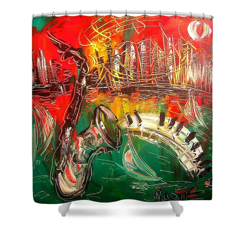 Shower Curtain featuring the painting Jazz Fest by Mark Kazav
