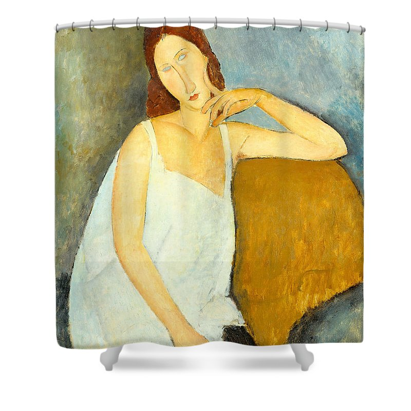 Amedeo Modigliani Shower Curtain featuring the painting Jeanne Hebuterne by Amedeo Modigliani